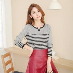 Tokyo Fashion - Notched-Neck Striped Knit Top