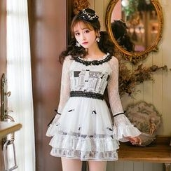 Candy Rain - Long-Sleeve Lace Trim Pleated Dress