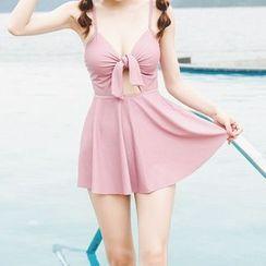 Sewwi - 套裝: 蝴蝶結鏤空泳裝 + 泳裙