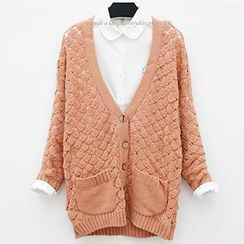 Polaris - Long Sleeved Crochet Knit Cardigan