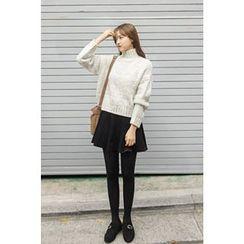 CHERRYKOKO - Mock-Neck Wool Blend Mélange Sweater