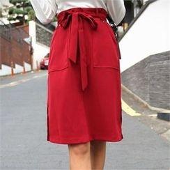 QNIGIRLS - Tie-Waist Slit-Hem Skirt
