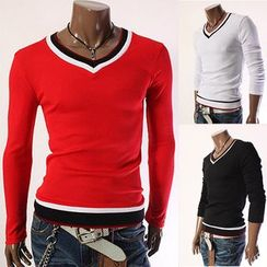 Hansel - Tipped V-Neck Long Sleeve T-Shirt