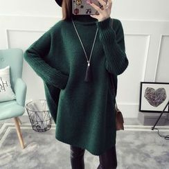 Qimi - Mock-Turtleneck Boxy Sweater