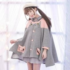 Moriville - Cat Print Color Panel Hooded Cape