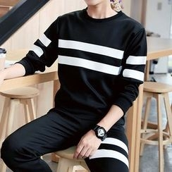Danjieshi - Set: Striped Pullover + Sweatpants