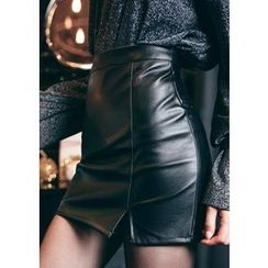 Chlo.D.Manon - Faux-Leather Mini Pencil Skirt