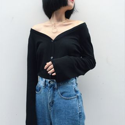 Anlay - Loose-Fit Off-Shoulder Long Sleeve Top