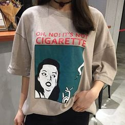Cloud Nine - Print Elbow-Sleeve T-shirt