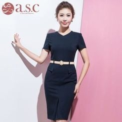 Aision - Short-Sleeve Sheath Dress