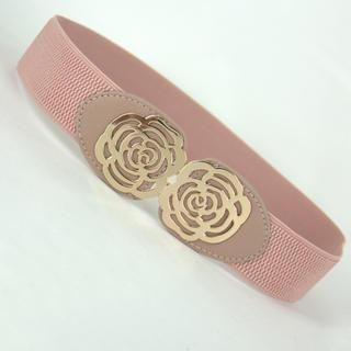 Jamie - Perforated Rose Elastic Belt