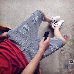 ZZP HOMME - 做旧条纹短裤
