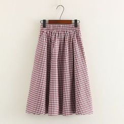 Mushi - Plaid A-Line Skirt