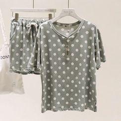 Moonrise Swimwear - Lounge Set: Short-Sleeve Dotted T-Shirt + Shorts