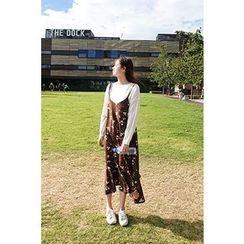 CHERRYKOKO - Spaghetti-Strap Floral Pattern Long Dress