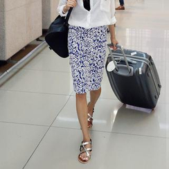 REDOPIN - Floral Print Pencil Skirt