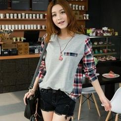 TBR - Long-Sleeve Plaid-Panel Top
