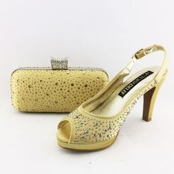 Bling Bag - Set : Glitter High-heel Sandals + Clutch