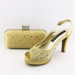Bling Bag - 套装: 亮面高跟凉鞋 + 手包