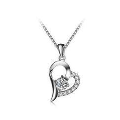 BELEC - Simple 925 Sterling Silver Heart-shaped Pendant with White Cubic Zircon and Necklace