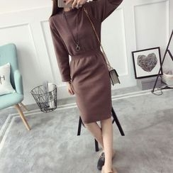 Qimi - Plain Long Sleeve Midi Knit Dress