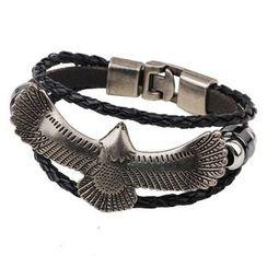 KINNO - Eagle Woven Leather Layered Bracelet