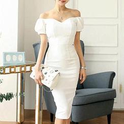 Fashion Street - Puff-Sleeve Off-Shoulder Sheath Dress