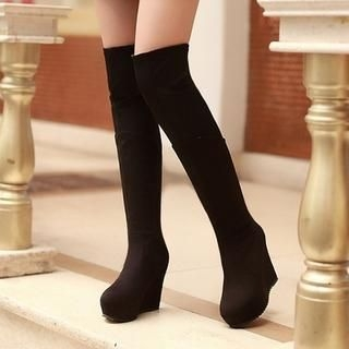 TBR - Platform Wedge Over-the-Knee Boots