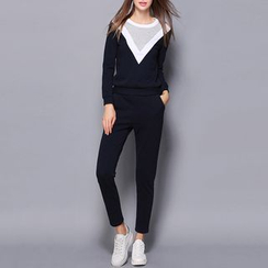 Merald - Set: Color Block Pullover + Sweatpants