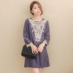 Tokyo Fashion - Long-Sleeve Lace-Appliqué Dress
