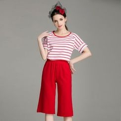 Cherry Dress - Set: Stripe Short-Sleeve T-shirt + Capri Wide-leg Pants