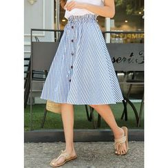 J-ANN - Drawstring-Waist Buttoned Stripe A-Line Midi Skirt