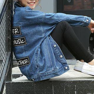 Yohana - Applique Oversized Denim Jacket