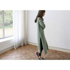Hello sweety - Wool Blend Slit-Hem Knit Dress