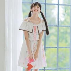 Moricode - Short-Sleeve Off Shoulder Top / Printed Skirt / Set: Short-Sleeve Off Shoulder Top + Printed Skirt