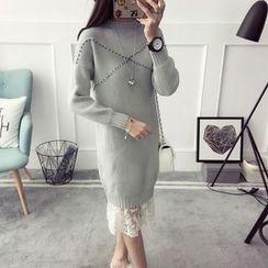 Qimi - 長袖鉚釘針織連衣裙
