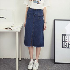 Honey House - Midi Denim Skirt