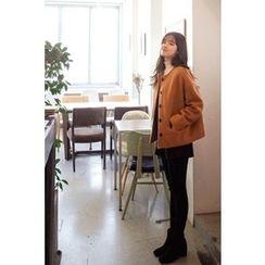 CHERRYKOKO - Collarless Button-Down Wool Blend Jacket