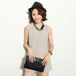 BORAN - Set: Pinstriped Halter Linen Cotton Top + Shorts