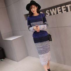 QZ Lady - Set: Color Block Sweater + Knit Midi Skirt