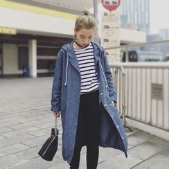 Bloombloom - Hooded Denim Long Jacket
