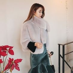 DABAGIRL - Elbow-Sleeve Faux-Fur Jacket with Scarf