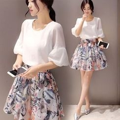 Ashlee - Set: Lantern-Sleeve Top + Print A-Line Skirt