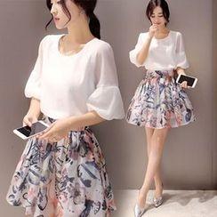 Ashlee - Set: Lantern-Sleeve Top + Print A-Line Skirt