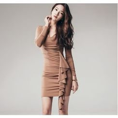 Clospace - Ruffled Long-Sleeve Bodycon Dress