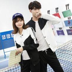 Je T'aime - Couple Matching Letter Colour Block Jacket