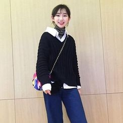 Bloombloom - Plain V-Neck Rib-Knit Sweater