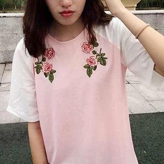 YOSH - Rose Embroidered Short Sleeve Baseball T-Shirt