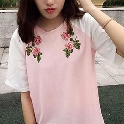 YOSH - Rose Embroidered Short Sleeve Baseball T-Shirt