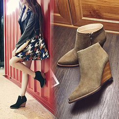 Gizmal Boots - Pointed Wedge Ankle Boots